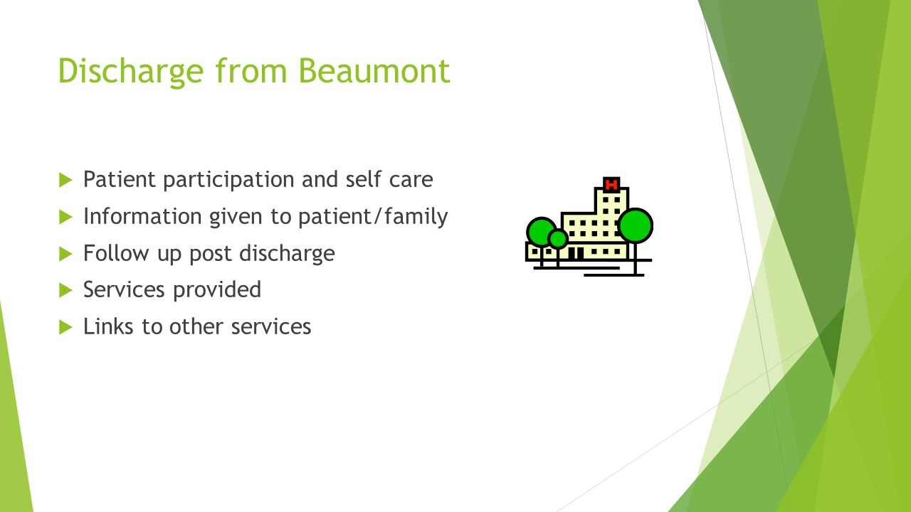 Discharge from Beaumont  Patient participation and self care  Information given to patient/family  Follow up post discharge  Services provided  Links to other services