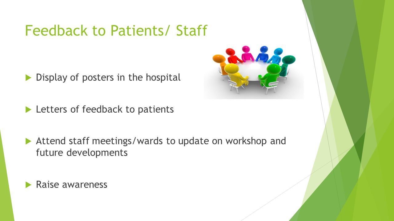 Feedback to Patients/ Staff  Display of posters in the hospital  Letters of feedback to patients  Attend staff meetings/wards to update on workshop and future developments  Raise awareness