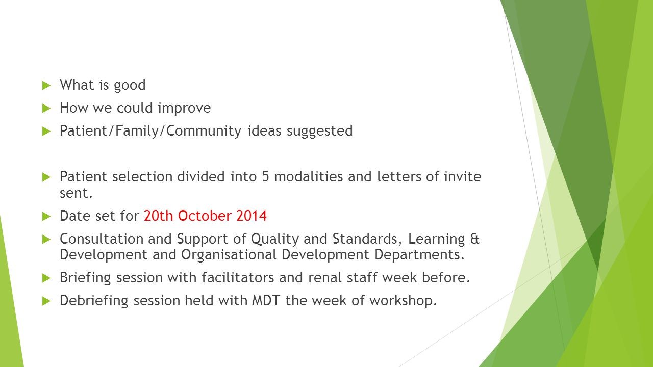  What is good  How we could improve  Patient/Family/Community ideas suggested  Patient selection divided into 5 modalities and letters of invite sent.