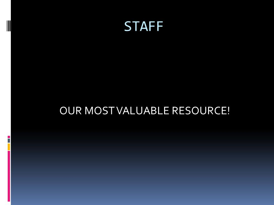 STAFF OUR MOST VALUABLE RESOURCE!