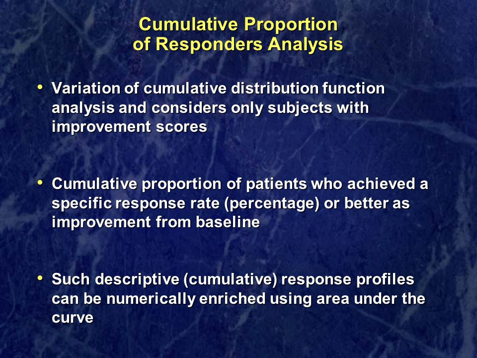 Cumulative Proportion of Responders Analysis Variation of cumulative distribution function analysis and considers only subjects with improvement score