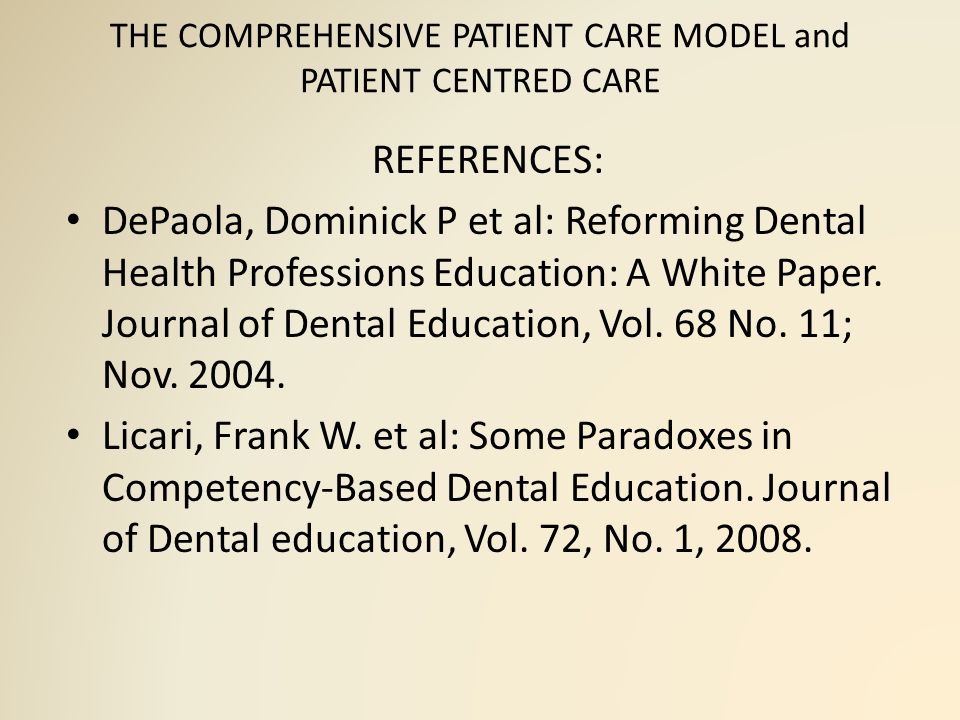 THE COMPREHENSIVE PATIENT CARE MODEL and PATIENT CENTRED CARE REFERENCES: Manual: Integrated Clinical Care.