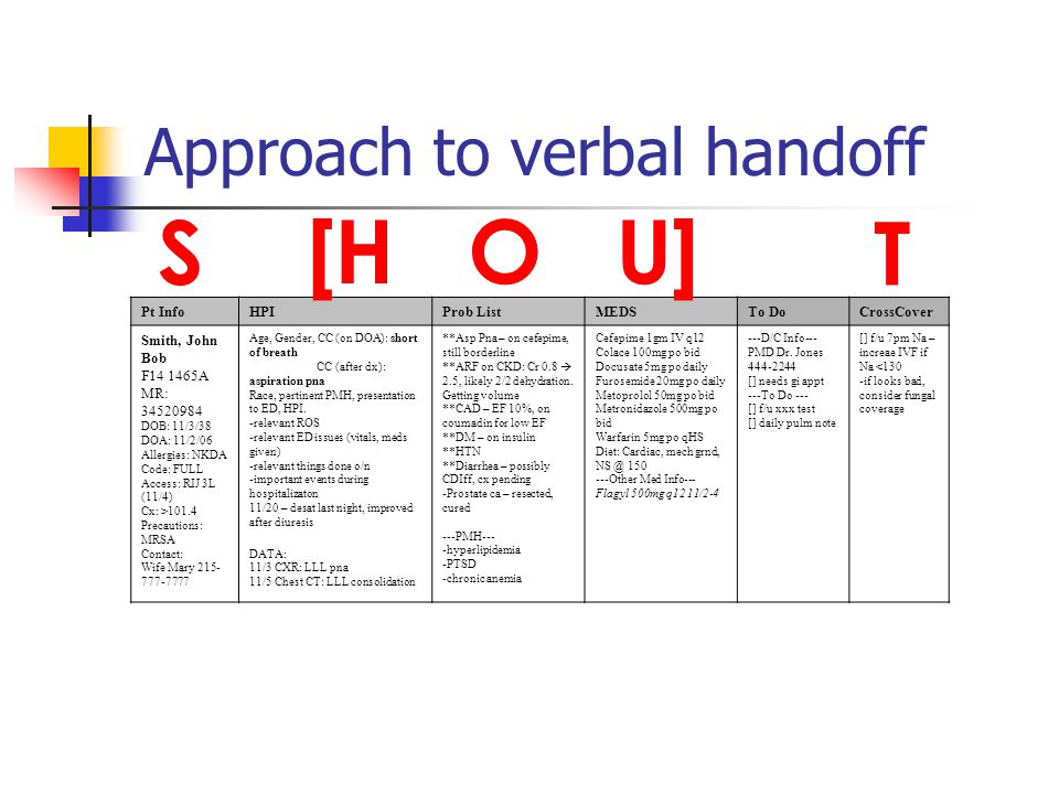 Approach to verbal handoff Pt InfoHPIProb ListMEDSTo DoCrossCover Smith, John Bob F14 1465A MR: 34520984 DOB: 11/3/38 DOA: 11/2/06 Allergies: NKDA Code: FULL Access: RIJ 3L (11/4) Cx: >101.4 Precautions: MRSA Contact: Wife Mary 215- 777-7777 Age, Gender, CC (on DOA): short of breath CC (after dx): aspiration pna Race, pertinent PMH, presentation to ED, HPI.