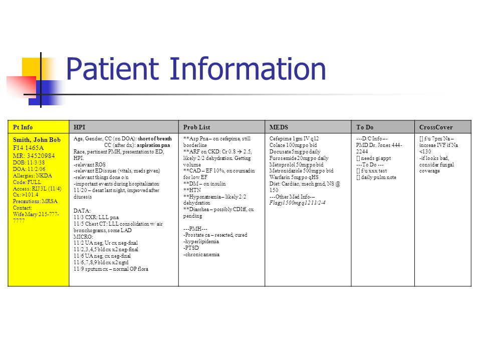 Patient Information Pt InfoHPIProb ListMEDSTo DoCrossCover Smith, John Bob F14 1465A MR: 34520984 DOB: 11/3/38 DOA: 11/2/06 Allergies: NKDA Code: FULL Access: RIJ 3L (11/4) Cx: >101.4 Precautions: MRSA Contact: Wife Mary 215-777- 7777 Age, Gender, CC (on DOA): short of breath CC (after dx): aspiration pna Race, pertinent PMH, presentation to ED, HPI.