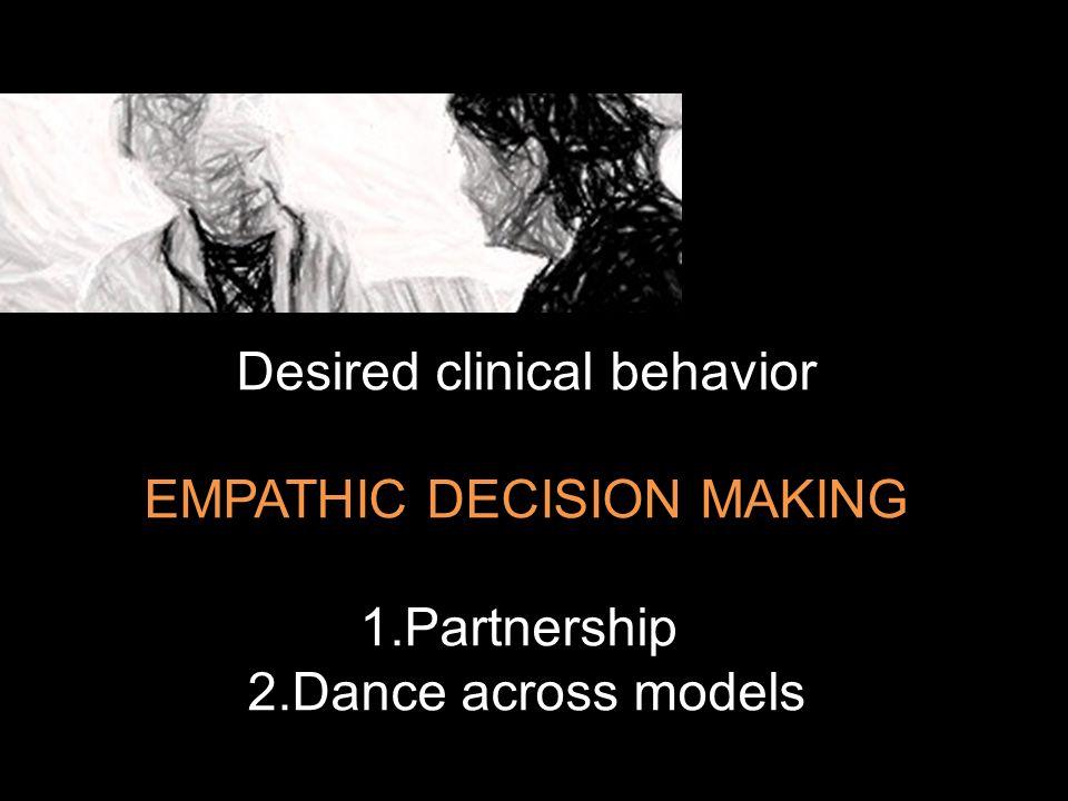 Desired clinical behavior EMPATHIC DECISION MAKING 1.Partnership 2.Dance across models