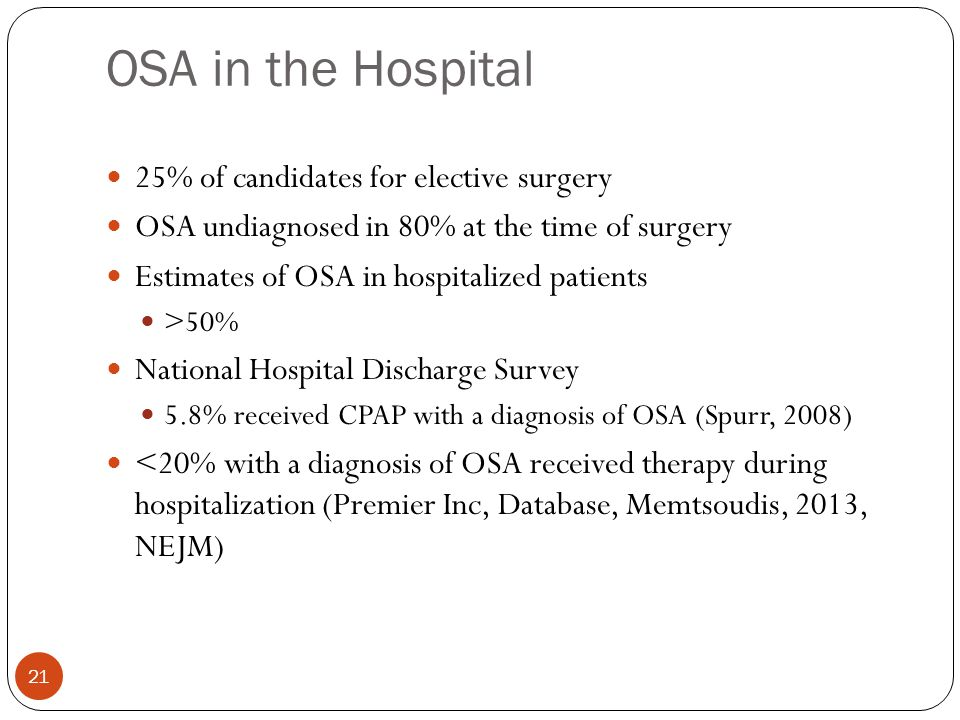 OSA in the Hospital 21 25% of candidates for elective surgery OSA undiagnosed in 80% at the time of surgery Estimates of OSA in hospitalized patients