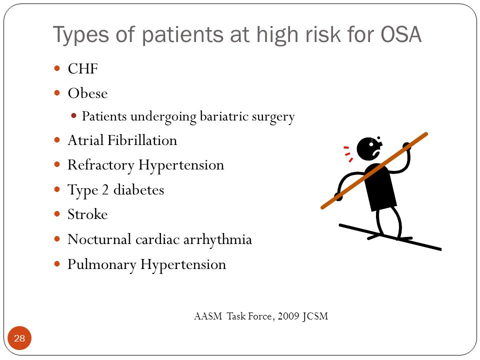 Types of patients at high risk for OSA CHF Obese Patients undergoing bariatric surgery Atrial Fibrillation Refractory Hypertension Type 2 diabetes Stroke Nocturnal cardiac arrhythmia Pulmonary Hypertension AASM Task Force, 2009 JCSM 28