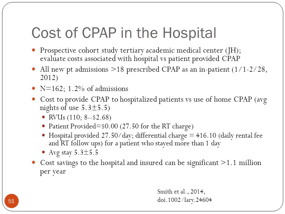 Cost of CPAP in the Hospital 51 Prospective cohort study tertiary academic medical center (JH); evaluate costs associated with hospital vs patient pro