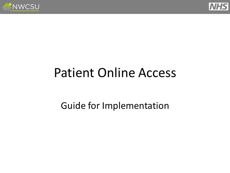 Patient Online Access Guide for Implementation