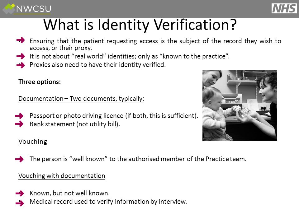 Ensuring that the patient requesting access is the subject of the record they wish to access, or their proxy.