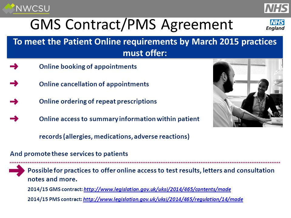 PATIENTS Online booking of appointments Online cancellation of appointments Online ordering of repeat prescriptions Online access to summary information within patient records (allergies, medications, adverse reactions) And promote these services to patients Possible for practices to offer online access to test results, letters and consultation notes and more.
