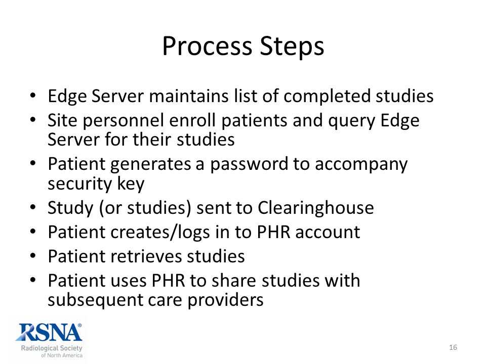 Process Steps Edge Server maintains list of completed studies Site personnel enroll patients and query Edge Server for their studies Patient generates