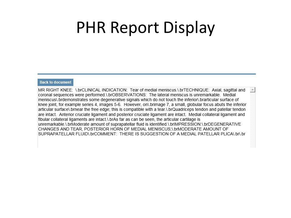 PHR Report Display