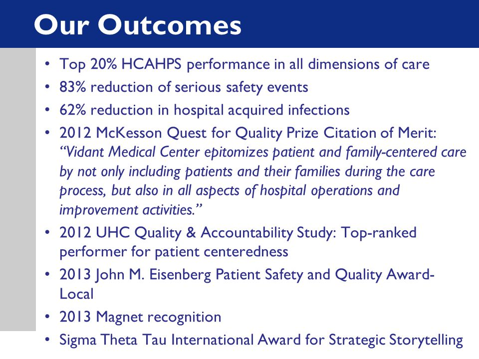 Our Outcomes Top 20% HCAHPS performance in all dimensions of care 83% reduction of serious safety events 62% reduction in hospital acquired infections