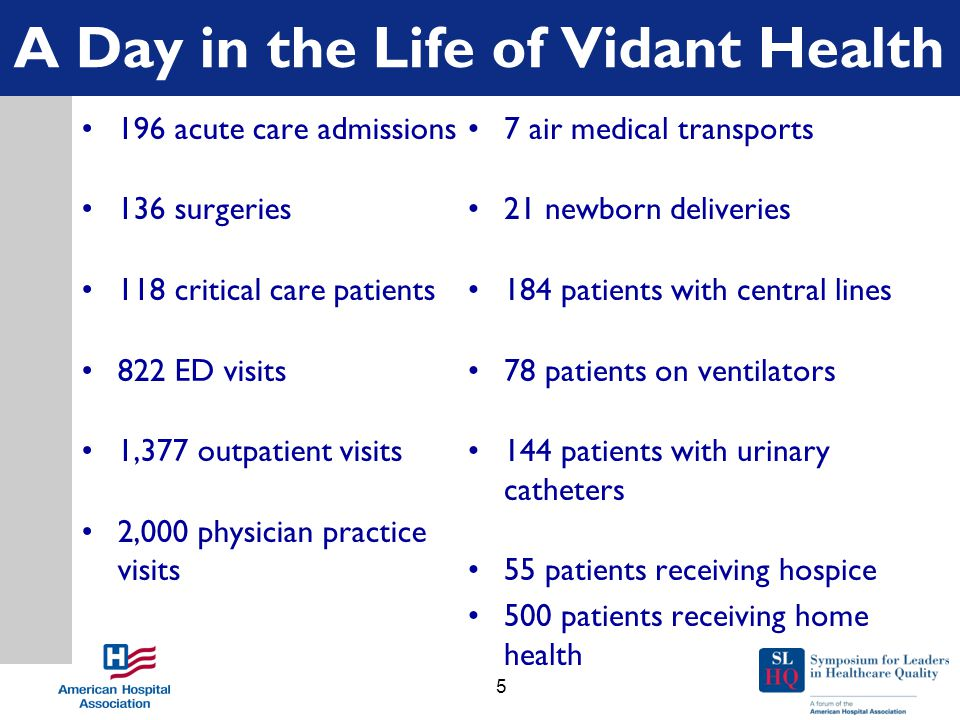 A Day in the Life of Vidant Health 196 acute care admissions 136 surgeries 118 critical care patients 822 ED visits 1,377 outpatient visits 2,000 physician practice visits 7 air medical transports 21 newborn deliveries 184 patients with central lines 78 patients on ventilators 144 patients with urinary catheters 55 patients receiving hospice 500 patients receiving home health 5