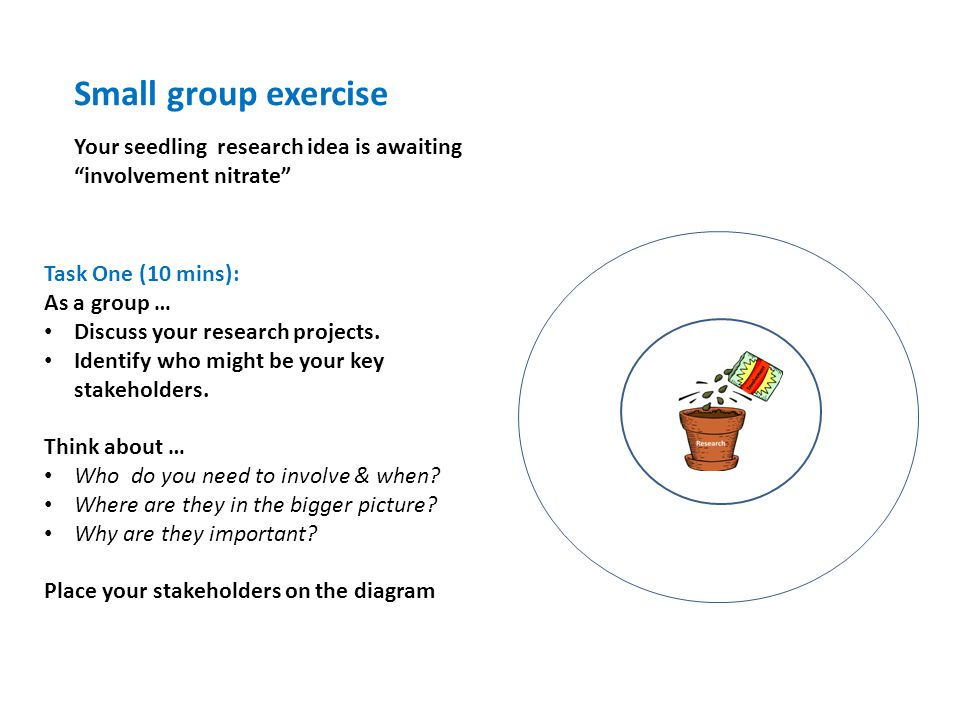 "Small group exercise Your seedling research idea is awaiting ""involvement nitrate"" Task One (10 mins): As a group … Discuss your research projects. Id"