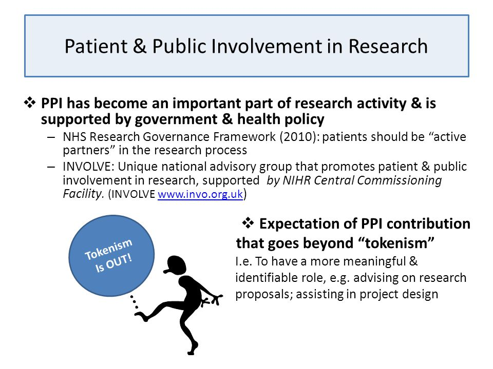 Patient & Public Involvement in Research  PPI has become an important part of research activity & is supported by government & health policy – NHS Re