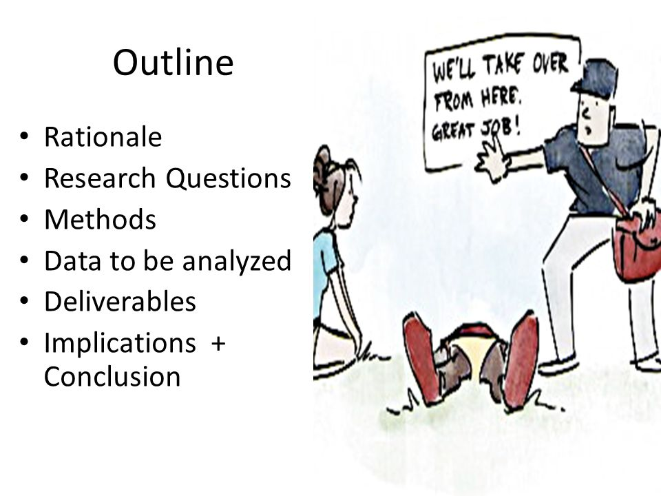 Outline Rationale Research Questions Methods Data to be analyzed Deliverables Implications + Conclusion