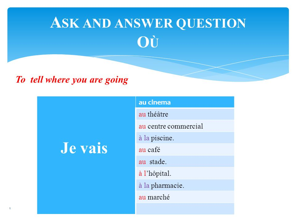 A SK AND ANSWER QUESTION O Ù 120 To ask where something or someone is going Où vas-tu .
