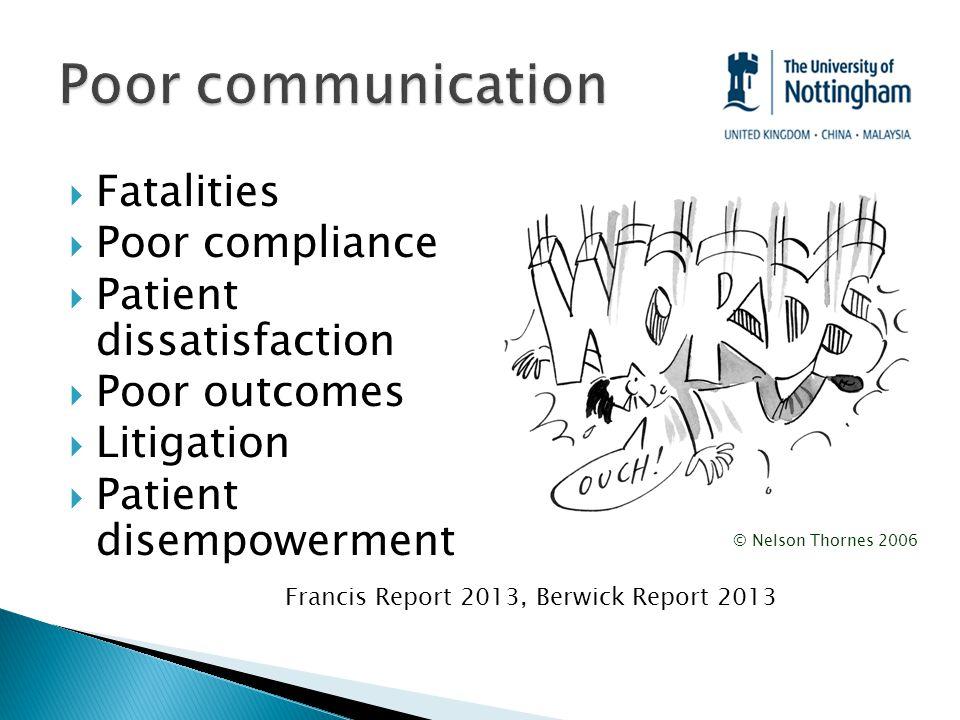  Fatalities  Poor compliance  Patient dissatisfaction  Poor outcomes  Litigation  Patient disempowerment © Nelson Thornes 2006 Francis Report 2013, Berwick Report 2013