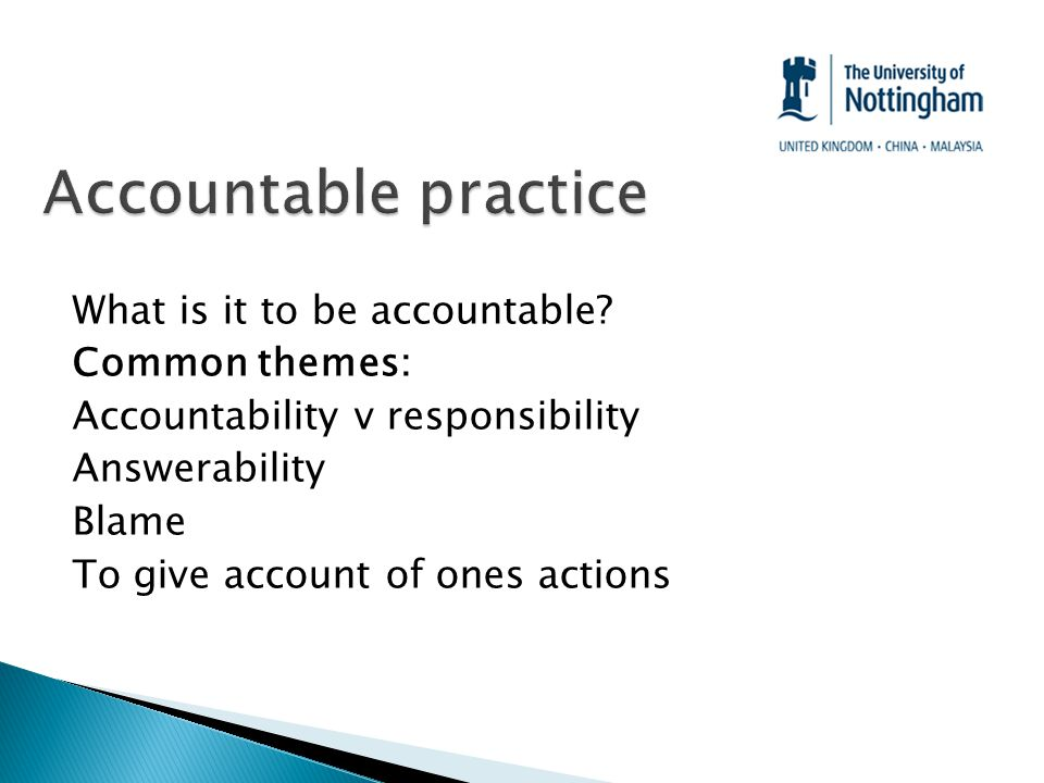 What is it to be accountable.