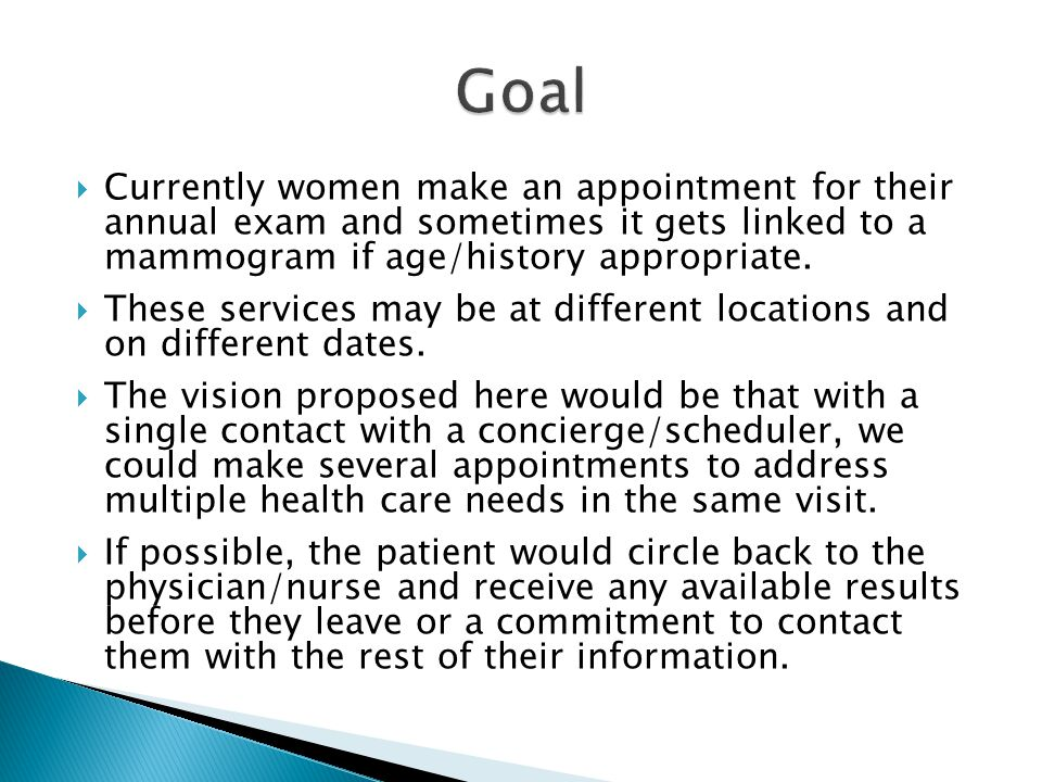  Currently women make an appointment for their annual exam and sometimes it gets linked to a mammogram if age/history appropriate.