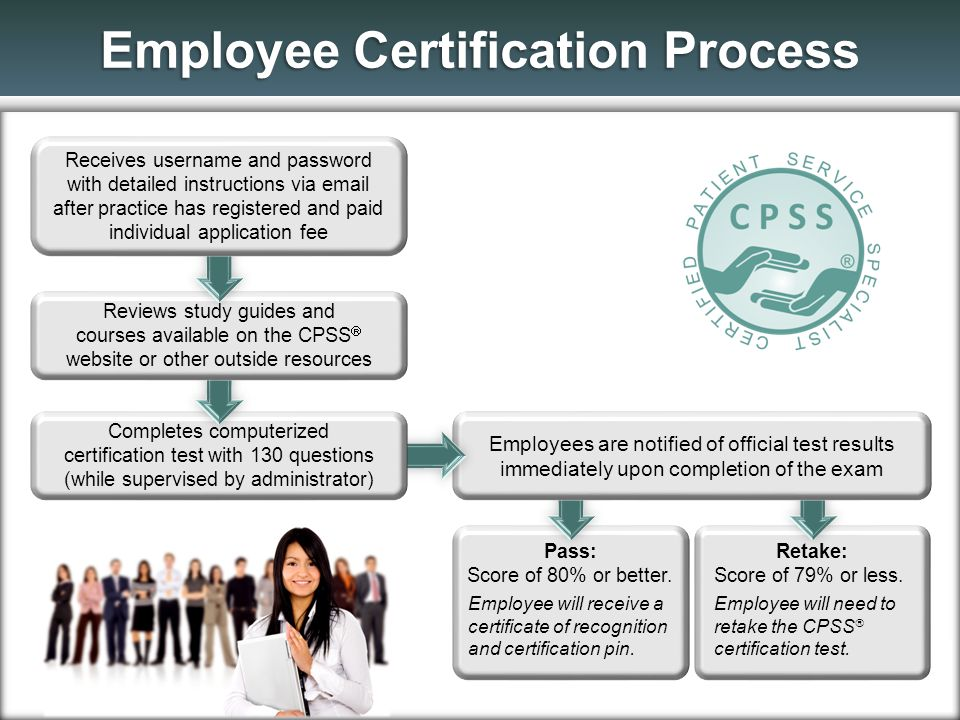Pass: Score of 80% or better. Employee will receive a certificate of recognition and certification pin. Retake: Score of 79% or less. Employee will ne