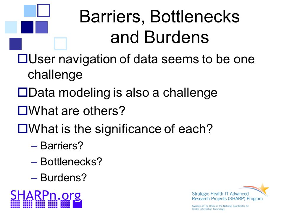 Barriers, Bottlenecks and Burdens  User navigation of data seems to be one challenge  Data modeling is also a challenge  What are others.