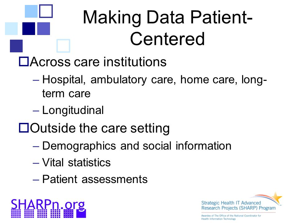  Across care institutions –Hospital, ambulatory care, home care, long- term care –Longitudinal  Outside the care setting –Demographics and social information –Vital statistics –Patient assessments Making Data Patient- Centered