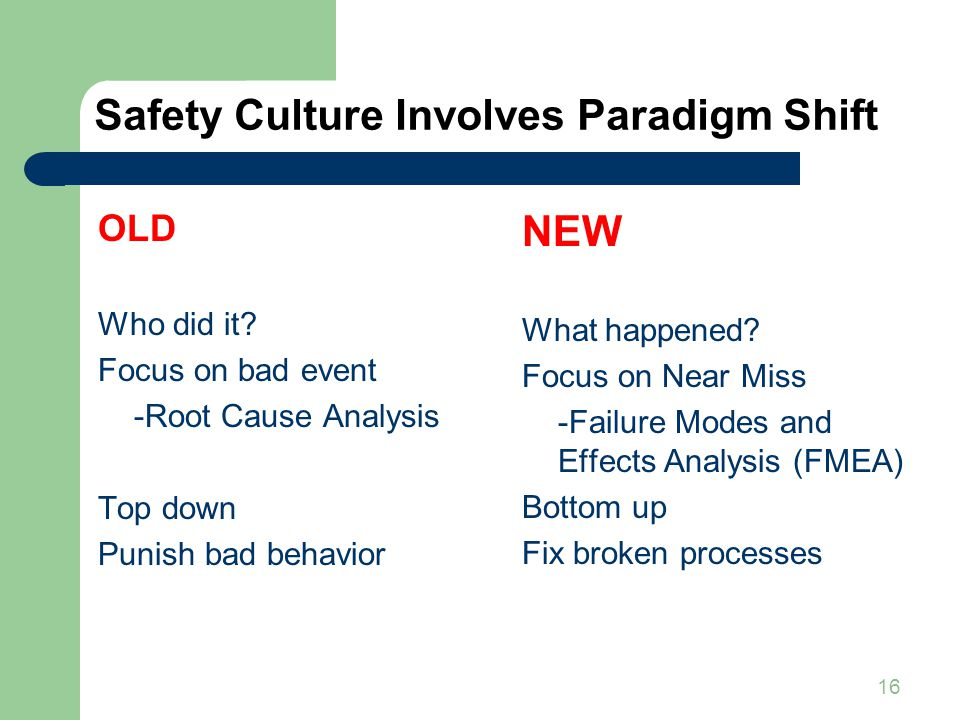 16 Safety Culture Involves Paradigm Shift OLD Who did it? Focus on bad event -Root Cause Analysis Top down Punish bad behavior NEW What happened? Focu
