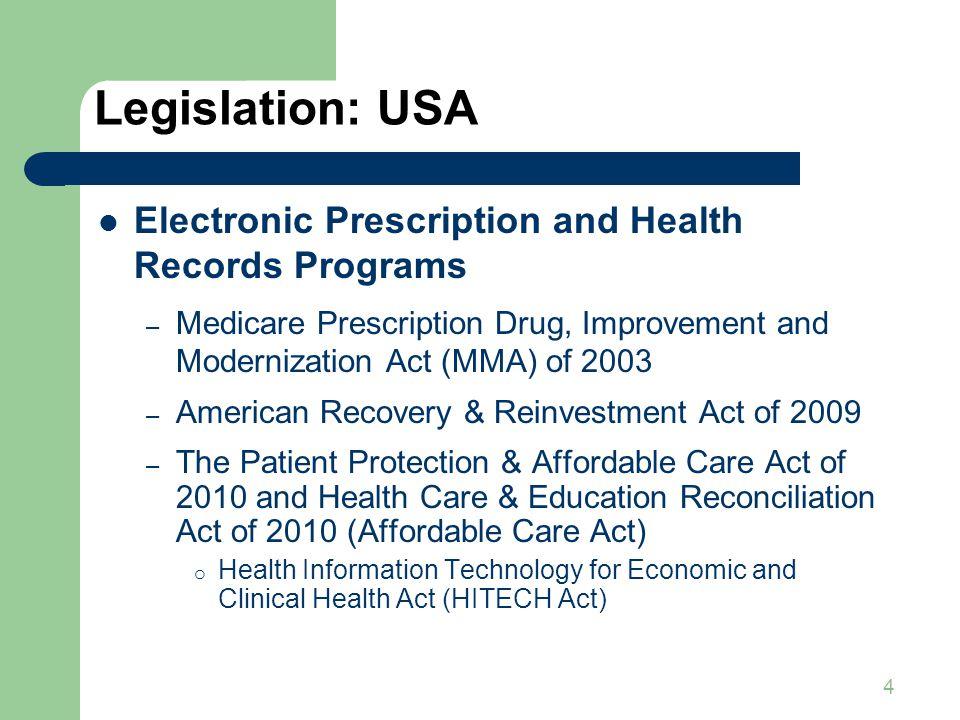 4 Legislation: USA Electronic Prescription and Health Records Programs – Medicare Prescription Drug, Improvement and Modernization Act (MMA) of 2003 –