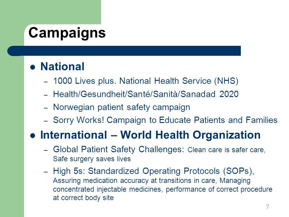 7 Campaigns National – 1000 Lives plus. National Health Service (NHS) – Health/Gesundheit/Santé/Sanità/Sanadad 2020 – Norwegian patient safety campaig