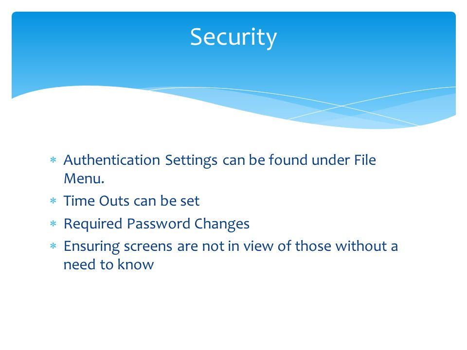  Authentication Settings can be found under File Menu.