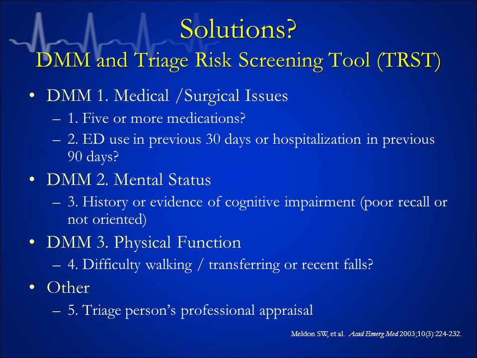 Solutions. DMM and Triage Risk Screening Tool (TRST) DMM 1.