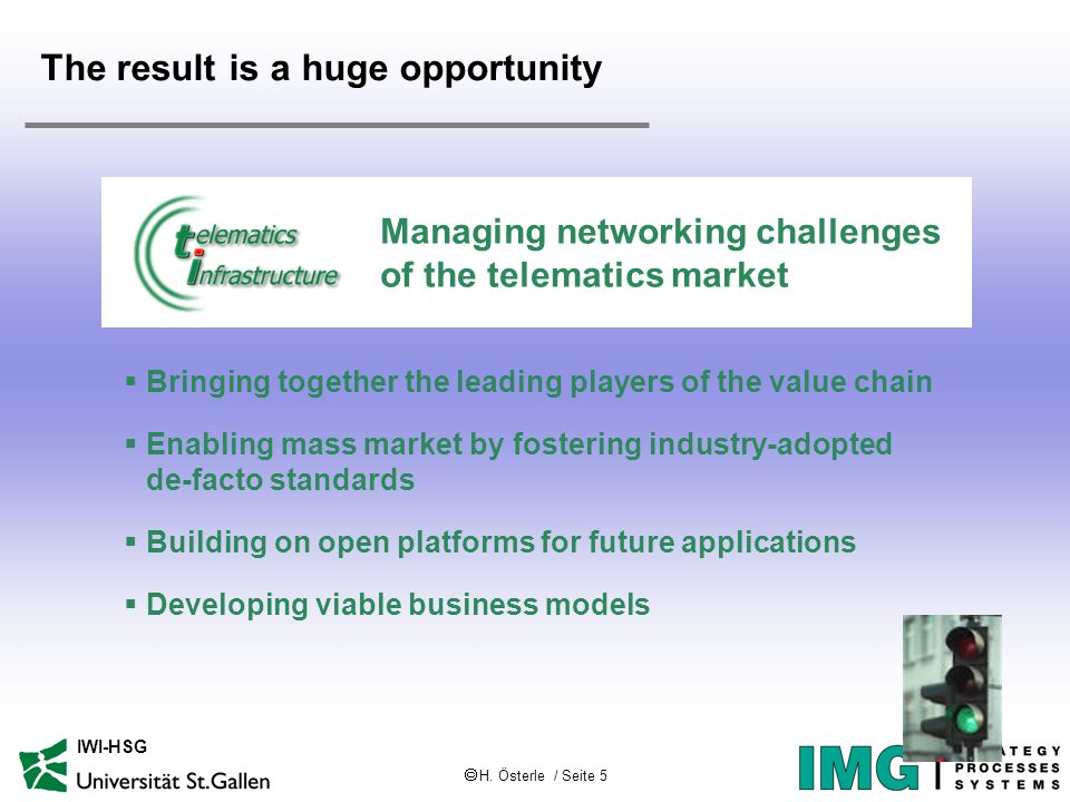  H. Österle / Seite 5 IWI-HSG The result is a huge opportunity Managing networking challenges of the telematics market  Bringing together the leadin