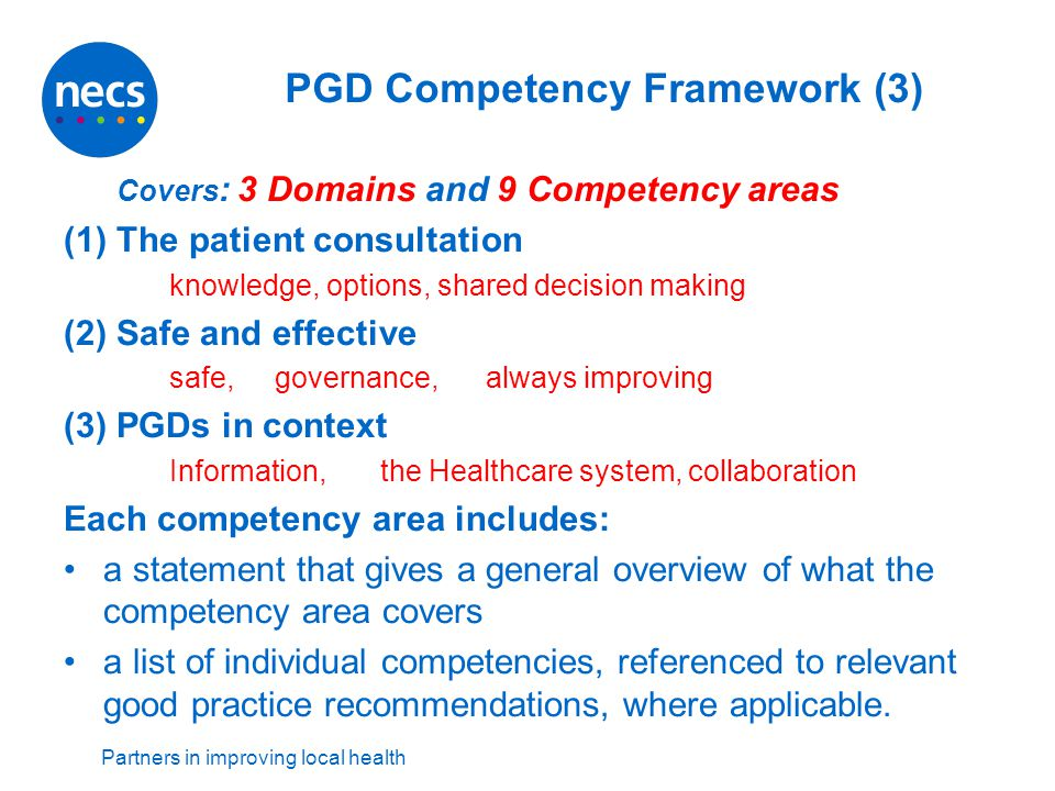 Partners in improving local health PGD Competency Framework (3) Covers : 3 Domains and 9 Competency areas (1) The patient consultation knowledge, opti