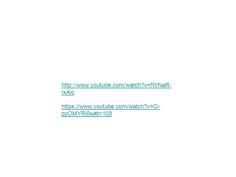 http://www.youtube.com/watch?v=fWNaR- rxAic https://www.youtube.com/watch?v=O- zpOMYRi0w#t=103