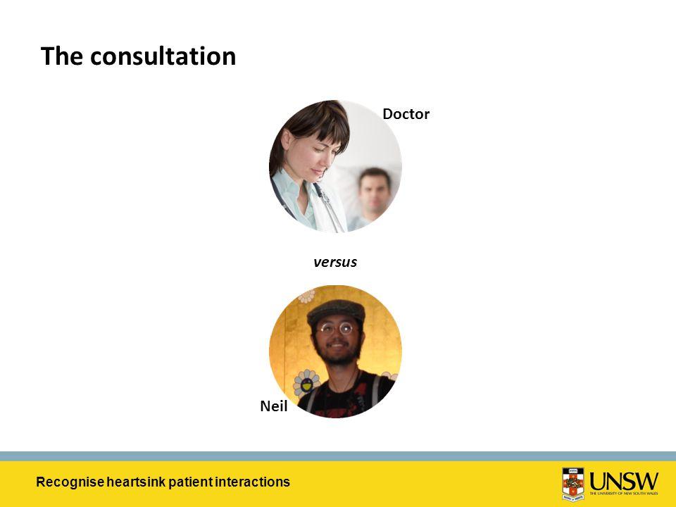 The consultation Student volunteer Doctor versus Neil Recognise heartsink patient interactions