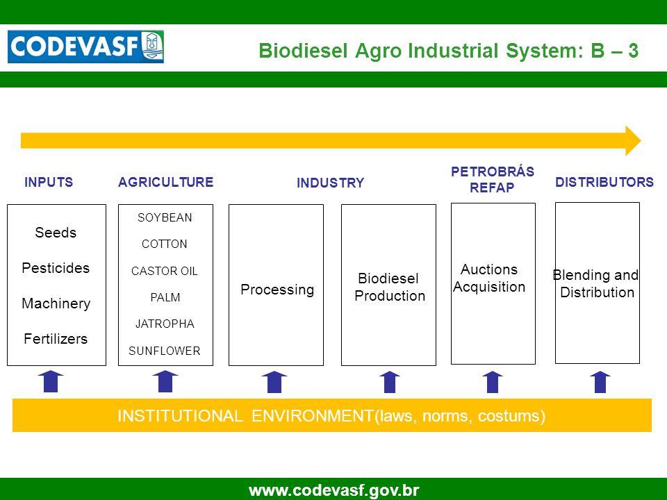 14 www.codevasf.gov.br Biodiesel Agro Industrial System: B – 3 Seeds Pesticides Machinery Fertilizers SOYBEAN COTTON CASTOR OIL PALM JATROPHA SUNFLOWE