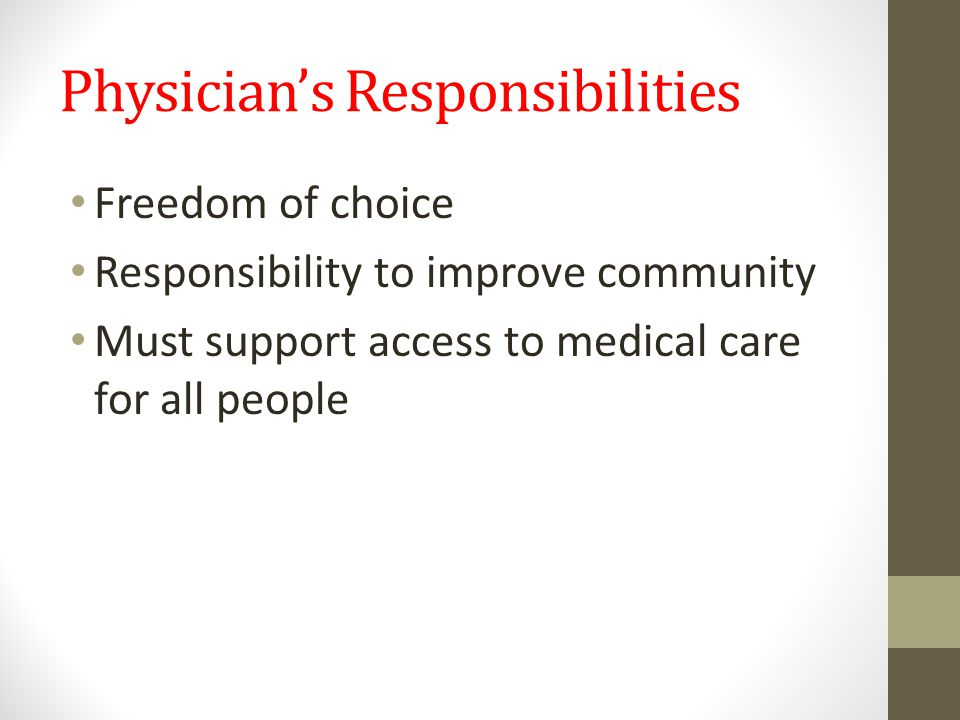 Physician's Responsibilities Freedom of choice Responsibility to improve community Must support access to medical care for all people