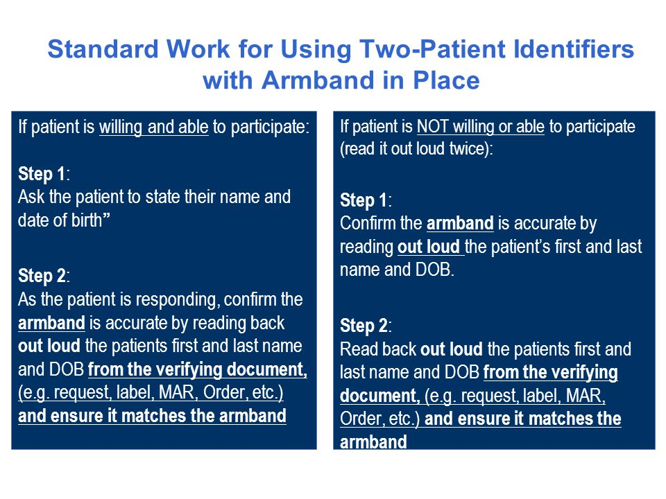 If patient is willing and able to participate: Step 1 : Ask the patient to state their name and date of birth Step 2 : As the patient is responding, confirm the armband is accurate by reading back out loud the patients first and last name and DOB from the verifying document, (e.g.