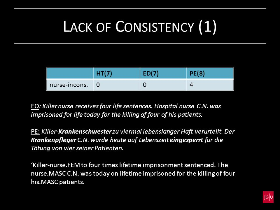 L ACK OF C ONSISTENCY (1) EO: Killer nurse receives four life sentences.