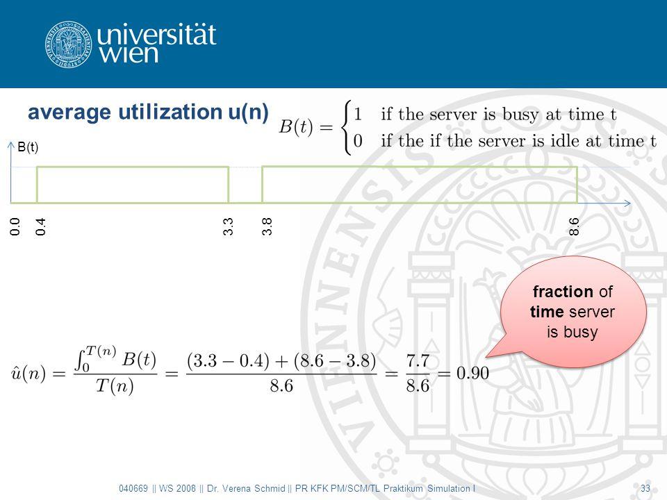 average utilization u(n) 040669 || WS 2008 || Dr. Verena Schmid || PR KFK PM/SCM/TL Praktikum Simulation I33 B(t) 0.00.43.33.88.6 fraction of time ser