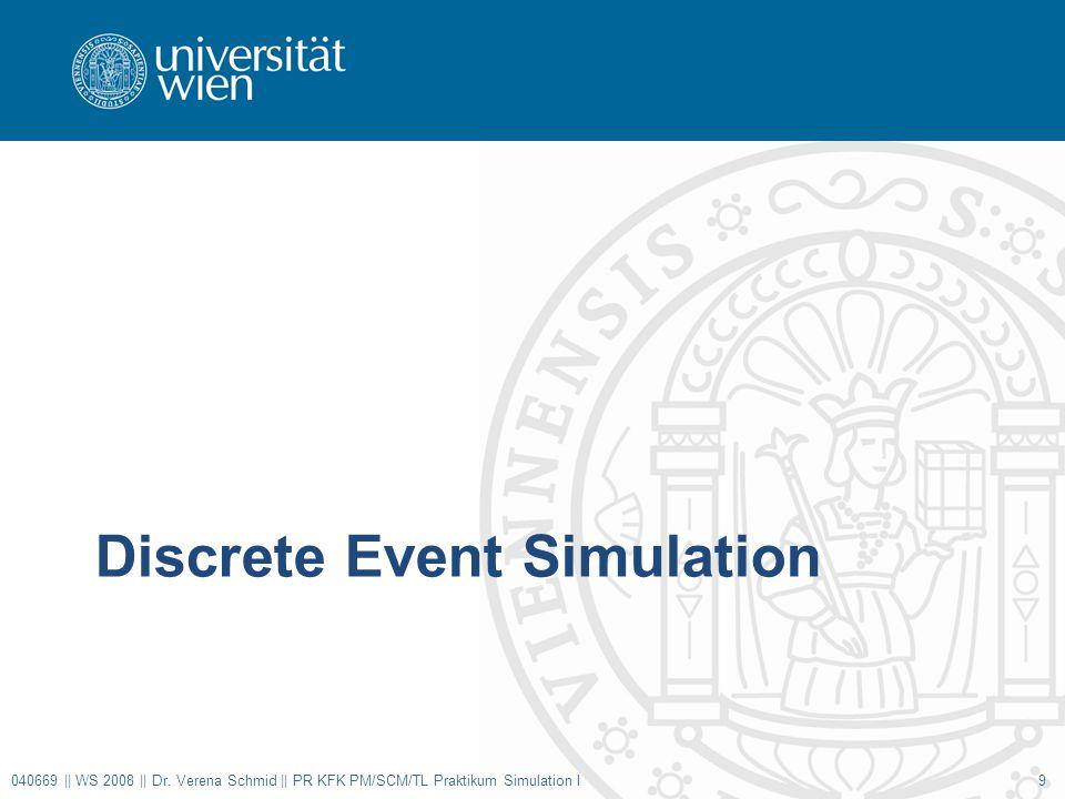 Discrete Event Simulation 040669 || WS 2008 || Dr. Verena Schmid || PR KFK PM/SCM/TL Praktikum Simulation I9