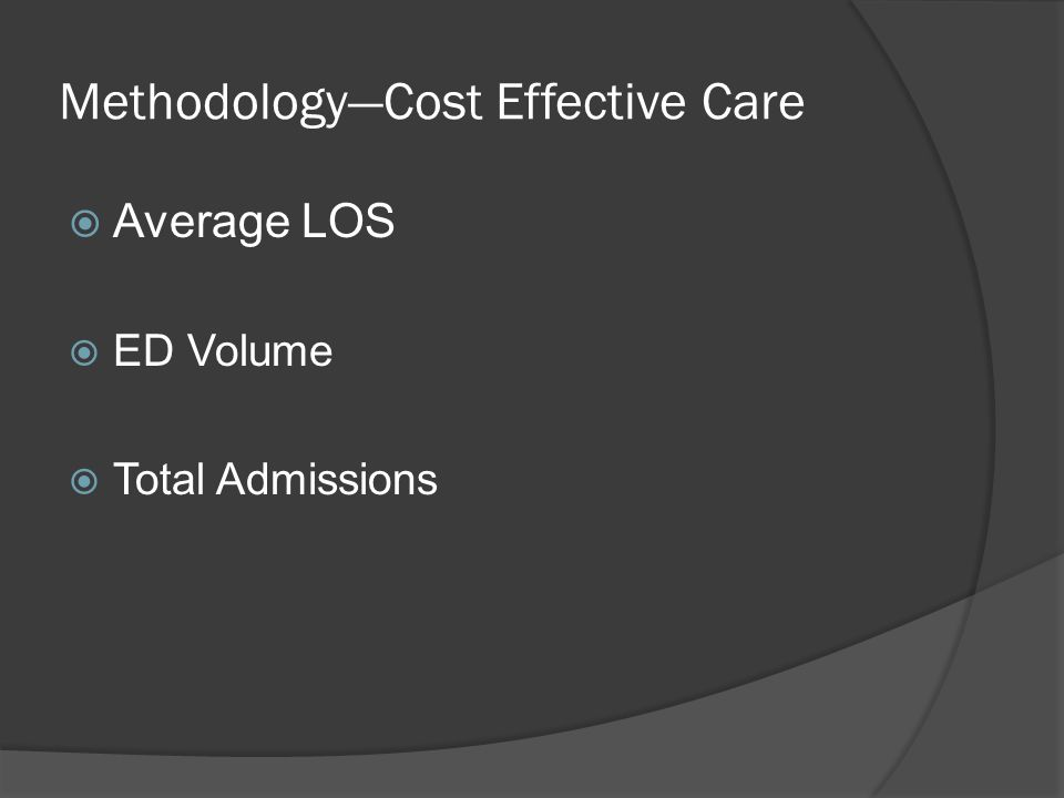 Methodology—Cost Effective Care  Average LOS  ED Volume  Total Admissions