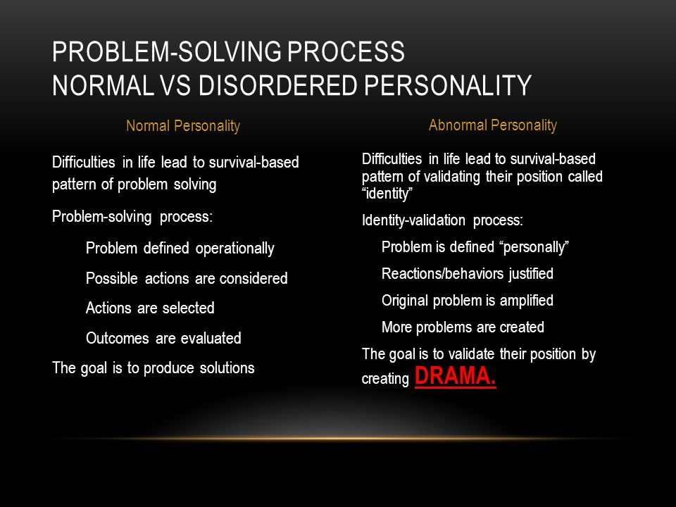 Difficulties in life lead to survival-based pattern of validating their position called identity Identity-validation process: Problem is defined personally Reactions/behaviors justified Original problem is amplified More problems are created The goal is to validate their position by creating DRAMA.
