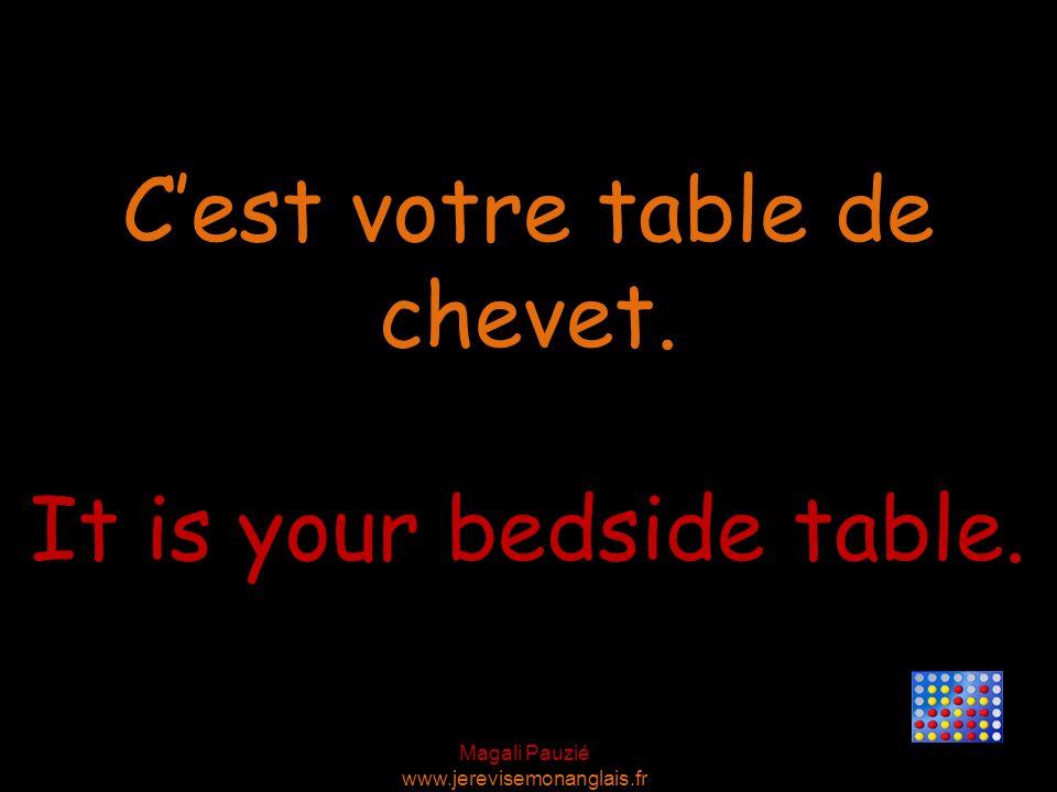 Magali Pauzié www.jerevisemonanglais.fr It is your bedside table. C'est votre table de chevet.