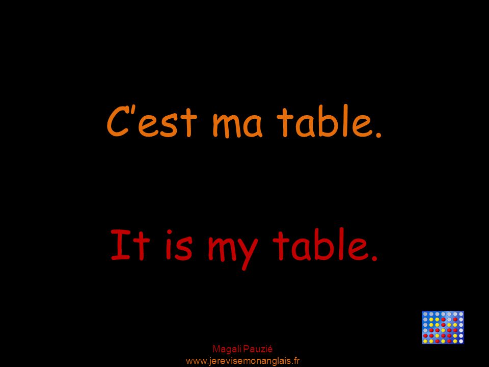 Magali Pauzié www.jerevisemonanglais.fr It is my table. C'est ma table.