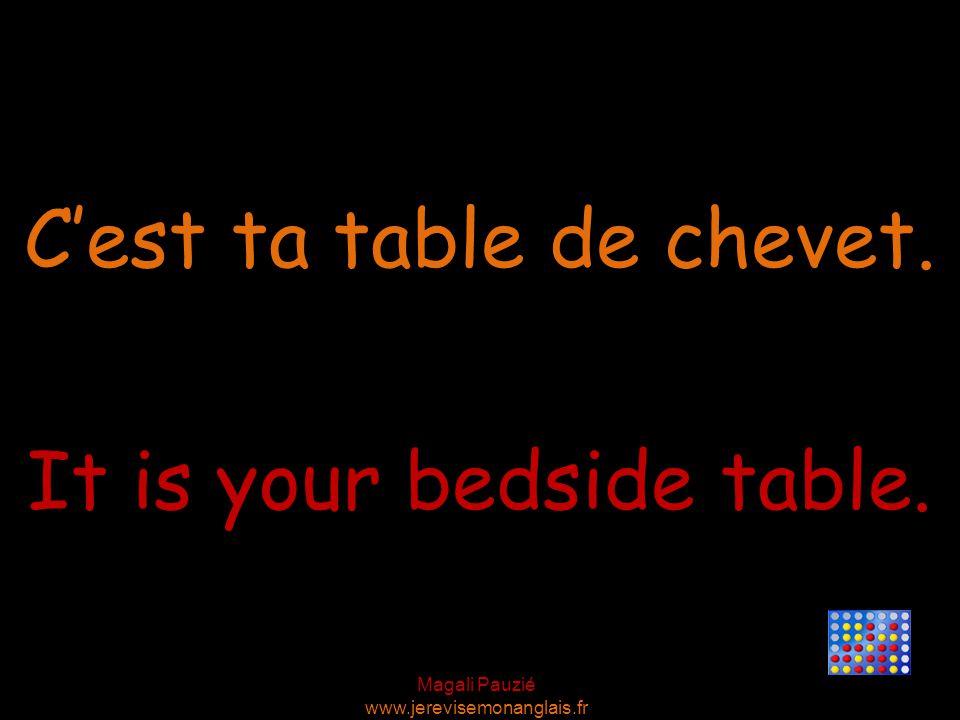 Magali Pauzié www.jerevisemonanglais.fr It is your bedside table. C'est ta table de chevet.
