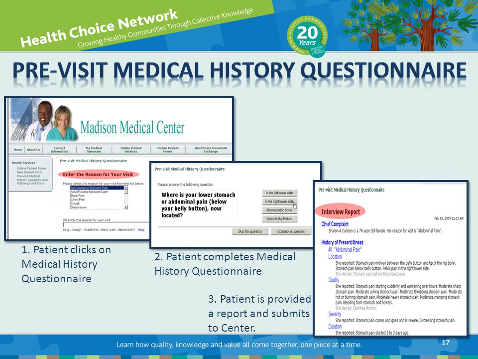 1. Patient clicks on Medical History Questionnaire 2.
